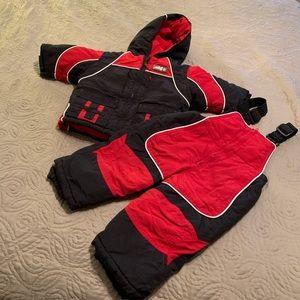 Little Me 18 mos boys snow jacket/snow bibs set